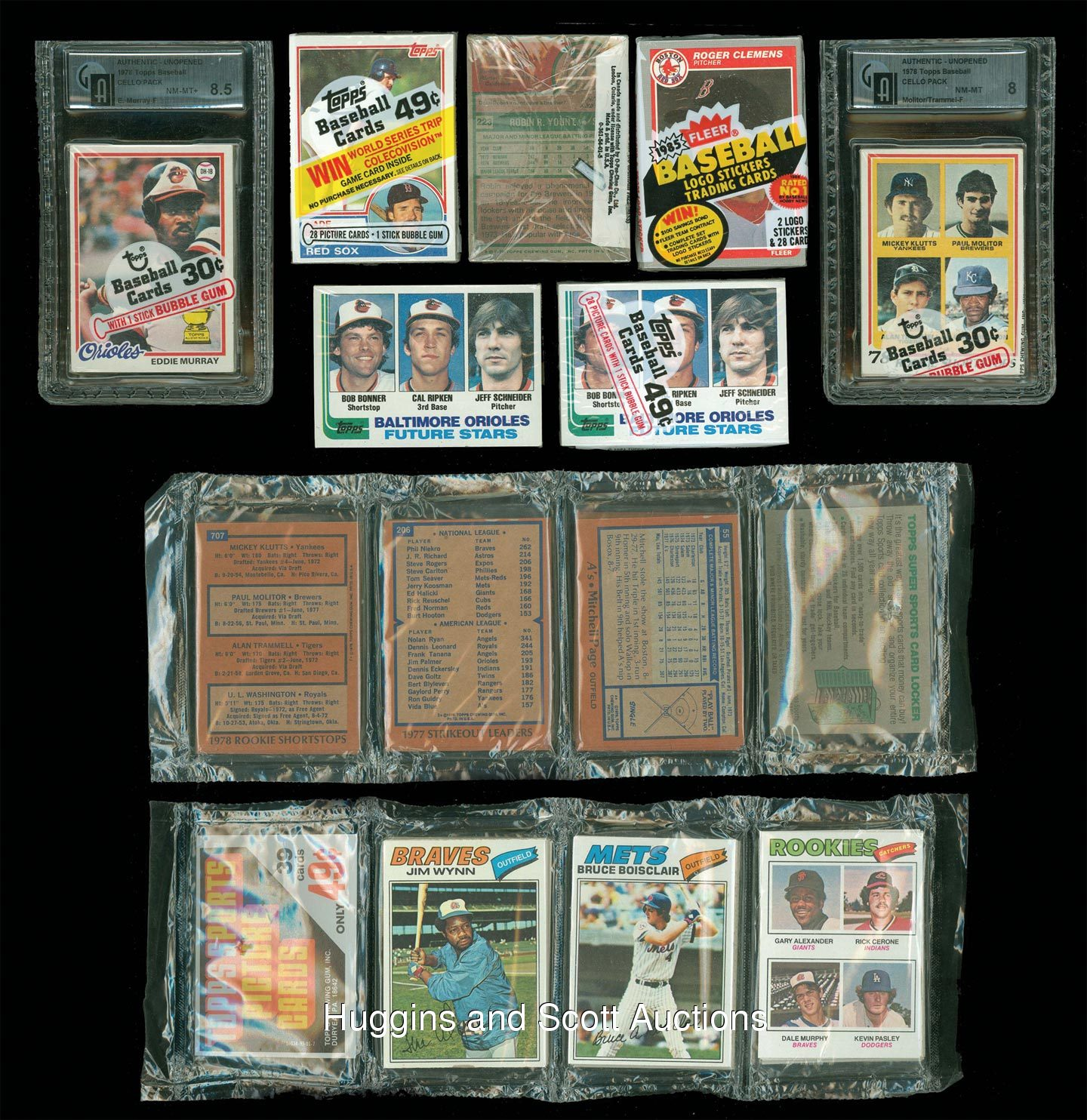 9 1975 1985 topps fleer baseball rack and cello packs with hall of fame rookies showing. Black Bedroom Furniture Sets. Home Design Ideas